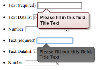 Default (top) and styled validation error message